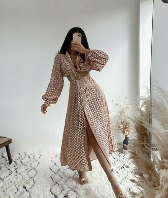 $68 • Buy Zara Woman Nwt Ss21 Pink Midi Embroidered Dress All Sizes 4786/107