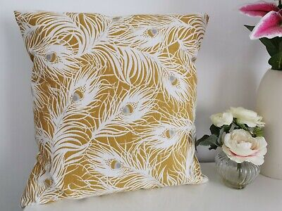 £6.99 • Buy Lovely Yellow Ochre Peacock Feather Cushion Cover 17 X17  *Brand New* Fab!