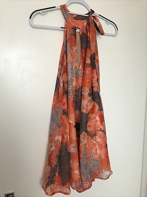 £12 • Buy River Island Coral Floral Halter Neck Beach Dress Size Small