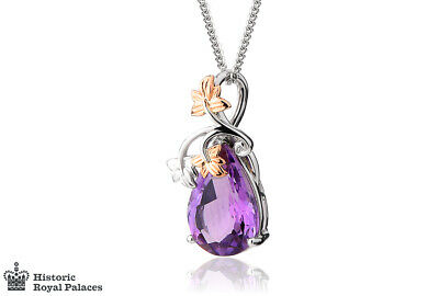£600 • Buy Welsh Clogau 18ct White & Rose Gold Great Vine Amethyst Pendant £900 Off!