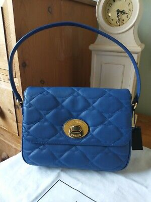 £125 • Buy Lulu Guinness Quilted Lips Annabelle Handbag Dark Blue Leather NEW With All Tags