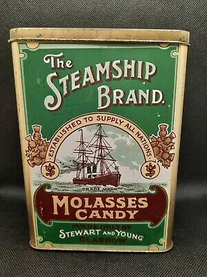 £8.25 • Buy VINTAGE STEWART AND YOUNG GLASGOW TIN The Steamship Brand Molasses Candy Sweets