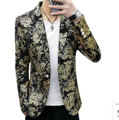 $39.59 • Buy NEW Mens Camouflage Blazer One Button Lapel Slim Fit Casual Youth Coats Jackets