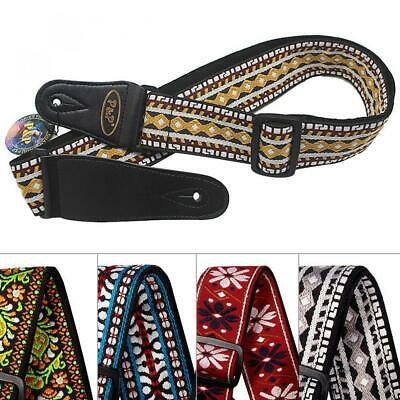 AU16.69 • Buy Adjustable Embroidery Woven Guitar Strap For Acoustic Electric Guitar Bass Strap
