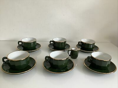 £27.99 • Buy Set Of Apilco France Coffee Cups And Saucers X6 Small Cream Jug Green Gold