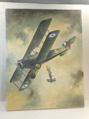 $150 • Buy Unsigned Mid-20th C. O/C Of WW I Dogfight Between  British & German Airplanes #2