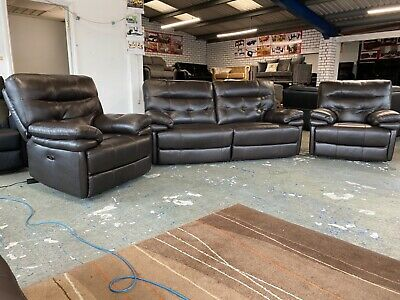 £1499 • Buy Brown Leather Three Piece Suite Electric Power Recliner Headrests 3 Seater Sofa