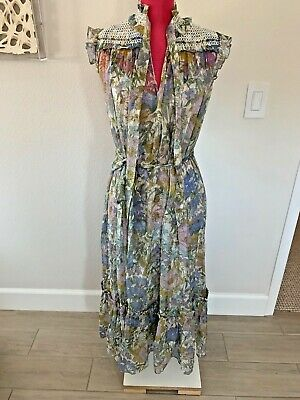 $328 • Buy Zimmermann Super Eight Sleeveless Midi Dress Blue Meadow New With Tags Size 1