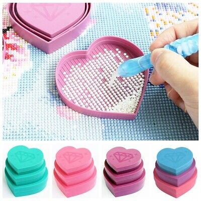 £4.35 • Buy 5d Diamond Heart Shaped Painting Tray Large Capacity Box Embroidery Accessories