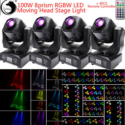 £499.99 • Buy 100W LED RGBW Moving Head Light Party 8 Prism Pattern Gobo Stage Lighting Disc