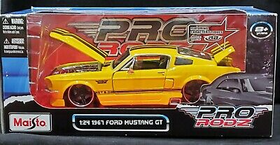 $24.99 • Buy MAISTO 67 1967 Ford Mustang GT 5.0 Pro Rodz Pro Touring Detailed Car 1:24 Yellow