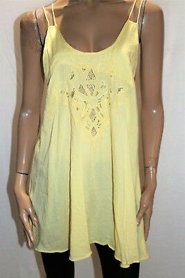 AU10 • Buy ASOS Brand Yellow Embroidered Lace Up Back Dress Size 12 #AN02