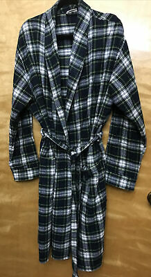 $39.99 • Buy Vintage Men's LL BEAN Green Plaid Robe Flannel With Belt GUC