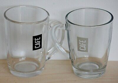 £9.99 • Buy NEW Set Of 2 French Glass Coffee Cups - Coffee Mugs Cream Black Modern Cafe Gift