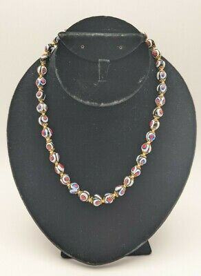 $74.99 • Buy Vintage Millefiori Art Glass Murano Venetian Beads Necklace Hand Knotted 17