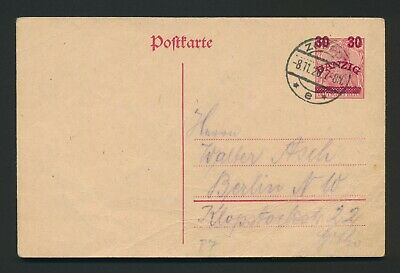 £5 • Buy 1920 DANZIG POSTCARD COVER TO BERLIN, 30pf ON 10pf SURCHARGE, ZOPPOT CDS 8.11.20