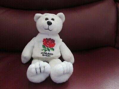 £10 • Buy Soft Plush White England Rugby Themed Bear Toy/beanie By Timepiece Uk