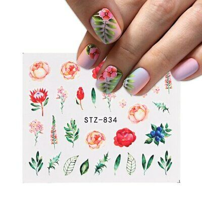 £1.45 • Buy Nail Art Water Decals Transfers Spring Summer Flowers Floral Fern Rose Daisy 834