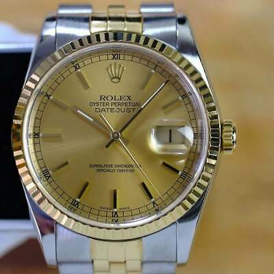 $6995 • Buy Rolex Mens Datejust Two-tone 16233 Factory Champagne Dial 36mm Watch Quickset