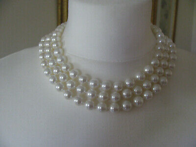 £45 • Buy Caroline Charles Shell Pearl Triple Strand Necklace, 16in, New