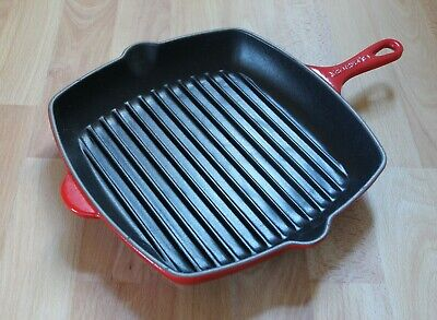 £25 • Buy Le Creuset Cast Iron Red Square 26cm Frying Griddle Skillet Pan Ribbed Surface