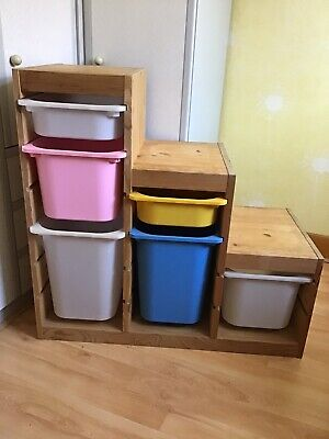 """£25 • Buy Collection Only Pine Storage Unit Childrens Play Toys 6 Plastic Boxes W37"""" D17"""""""