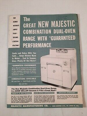 $16.50 • Buy 1949 Majestic Combination Dual Oven Rang Cook Bakes Salesmen Pamphlet Price List