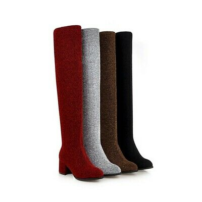 £27.19 • Buy Women's Block Mid Heel Pull On Over The Knee Boots Comfort Pull On Stretch Boots