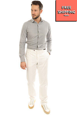 $11.69 • Buy RRP €195 PT01 Gabardine Chino Trousers Size 56 / 3XL Stretch White Button Fly