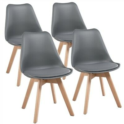 £75.99 • Buy 4 Pcs Gray Dining Chairs Modern Style Beech Wooden Legs Upholstered Side Chairs