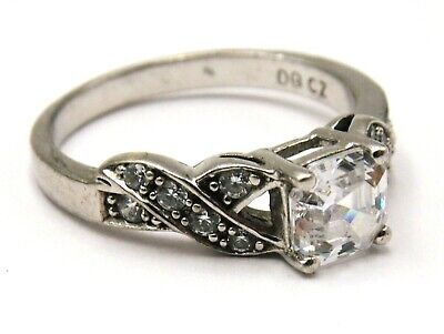 $ CDN34.60 • Buy Sterling Silver Ring Solitaire Cubic Zirconia Decorated Shoulders By QVC Size O