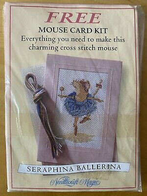 """£0.99 • Buy Cute """"Seraphina Ballerina Mouse"""" Cross Stitch Card Kit, With Chart"""