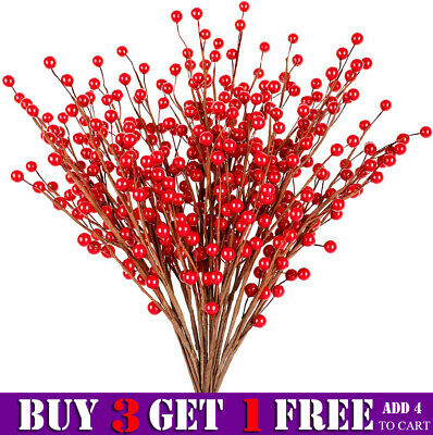 £4.99 • Buy 5 Branch Artificial Berry Stems Fake Flowers Berries Holly Christmas Tree Decor