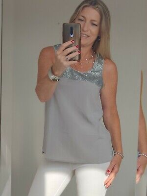 £4.99 • Buy The White Company Grey Silk Sequinned Vest Top Size 10