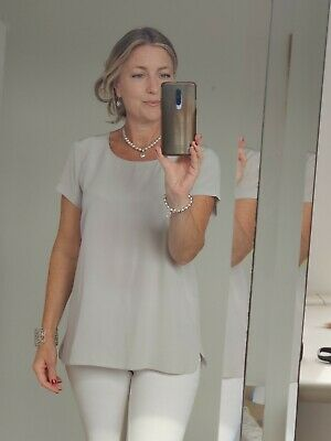 £4.99 • Buy The White Company Grey Silk Short Sleeved A Line Blouse Top Size 14