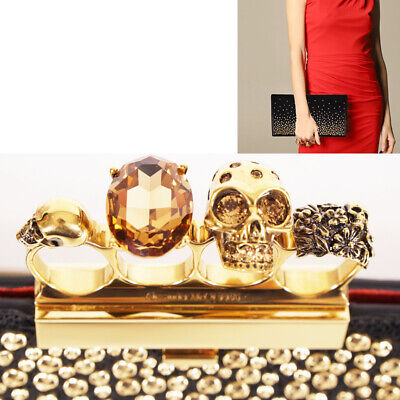 AU1351.99 • Buy NEW $2090 ALEXANDER MCQUEEN Black Leather GOLD STUD Four SKULL RING Clutch BAG