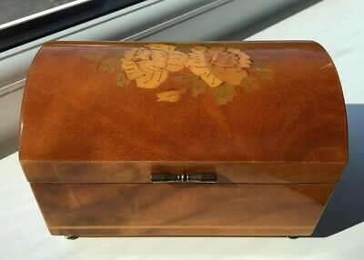 £20 • Buy Beautiful Vintage Floral Design Inlay Reuge Wooden Musical Jewelery Box 5415