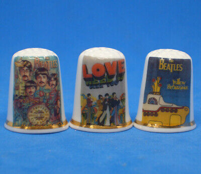 £8.95 • Buy Birchcroft China Thimbles -- Set Of Three -- Beatles Psychedelic Posters
