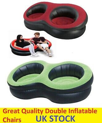 £11.99 • Buy Double Inflatable Blow Up Seat Chair Sofa Gaming Pod Lounger Indoor Outdoor New