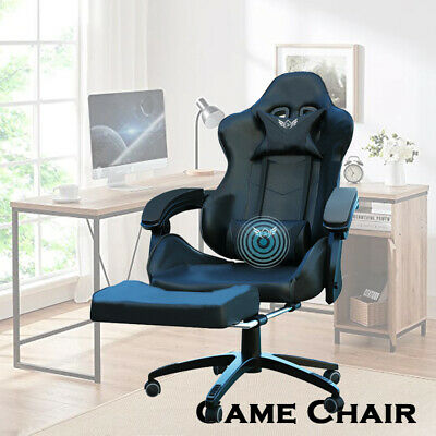 AU149 • Buy Deluxe Gaming Chair Footrest Office Computer Racing Pu Leather Green