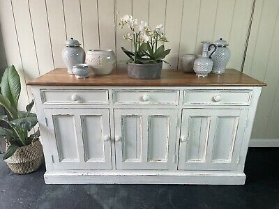 AU450 • Buy Large Rustic Farmhouse Solid Timber 3 Drawer Sideboard Cabinet ~ Antique White