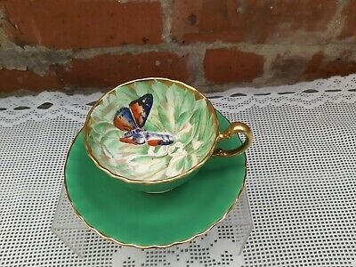 £499 • Buy Aynsley Butterfly Chrysanthemum Green Cup And Saucer