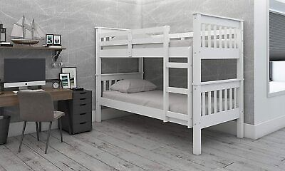 £199.95 • Buy Children's Bunk Bed White Lacquered Colorado Can Be Split Into Two Single Beds