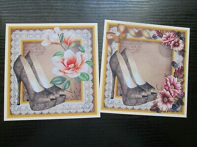 £1.25 • Buy NEW ===2 X  LACED FASHION SHOES & FLOWERS Card Toppers & Sentiments