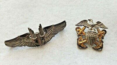 $69.99 • Buy Vintage Sterling US Military Pins Gunner Bomber Pilot Wings & Navy Eagle Anchors
