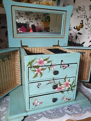 £24.99 • Buy Beautiful Blue Floral Vintage Rustic Jewellery Box Chest