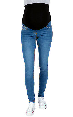 £8.99 • Buy Ex Chainstore Maternity Over Bump Skinny Jeggings, Pull On Blue Pregnancy Jeans