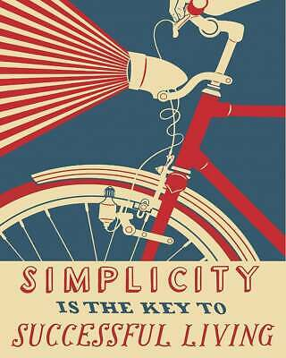 £3.95 • Buy SIMPLICITY Printed Poster A4 A3 A2 Man Cave Cycling Cafe Bike Bar Tour Sign Shed