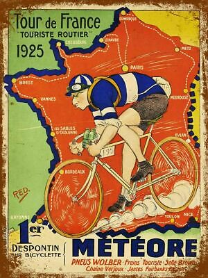 £9.95 • Buy METEORE 1925 Printed Poster A4 A3 A2 Cave Cycling Cafe Bike Bar Sign Shed Tour
