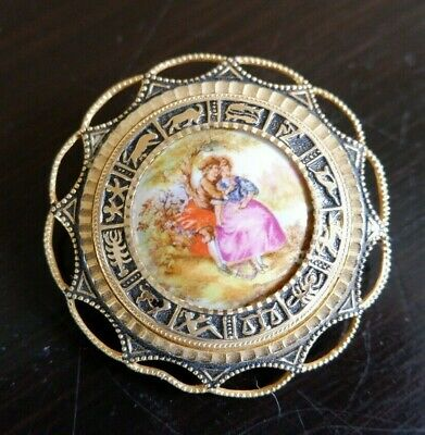 £15 • Buy Vintage Limoges Victorian Courting Couple Filigree Brooch Zodiac Surround